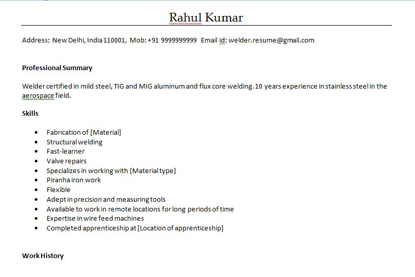 Download Here Resume For Welder
